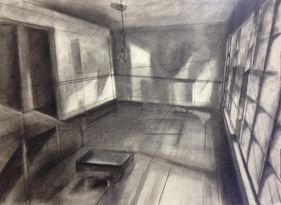 """Dining Room Once Charcoal on paper 18"""" x 24"""" 2016"""
