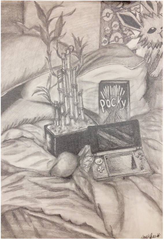 """15. """"Personal Still Life"""", continuous value, graphite on paper, Drawing II, Spring 2018"""