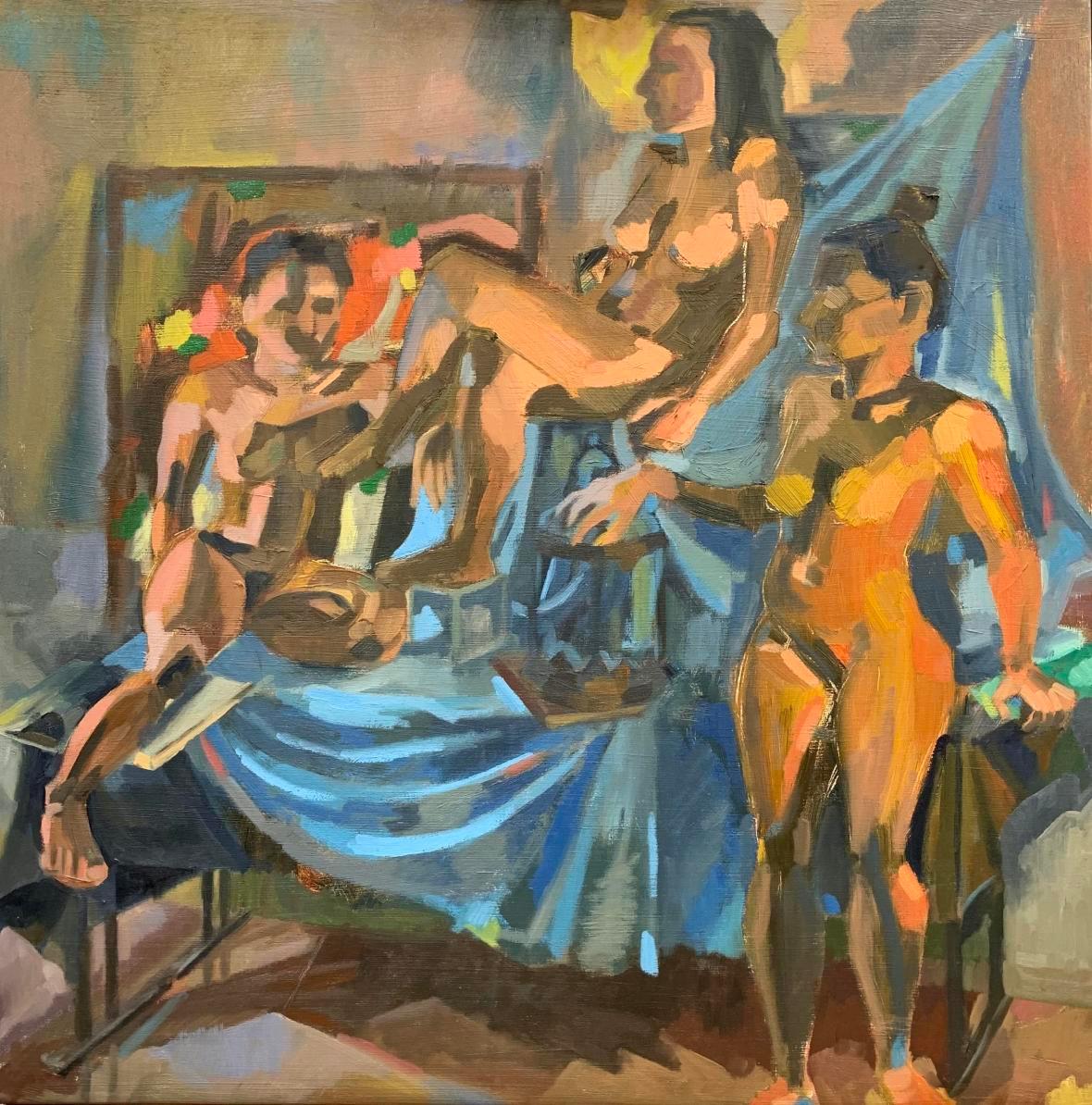 "Three Alexandrias Oil on canvas 24"" x 24"" 2019"
