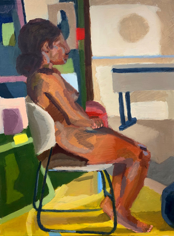 """18.  """"Alex Sitting"""", color, light and form, oil on canvas, Painting II, Spring 2019"""