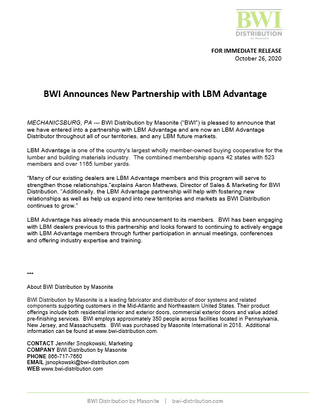 BWI Announces New Partnership with LBM Advantage