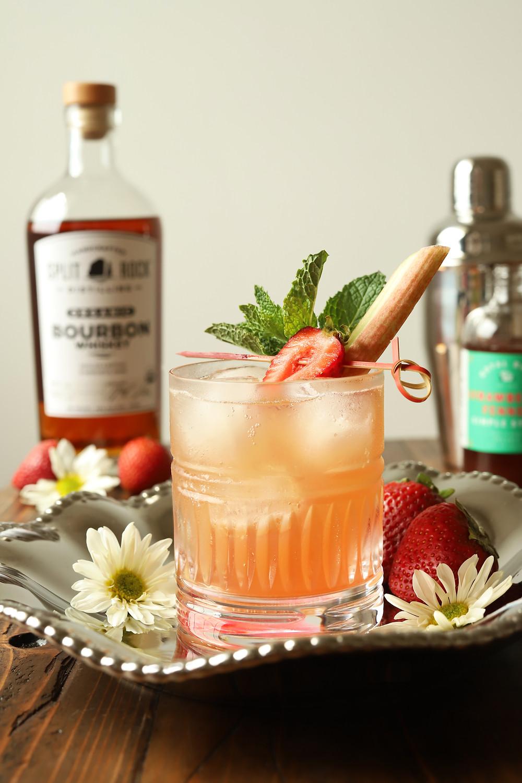 Strawberry Rhubarb smash cocktail