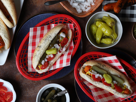 Vegan carrot Chicago dogs