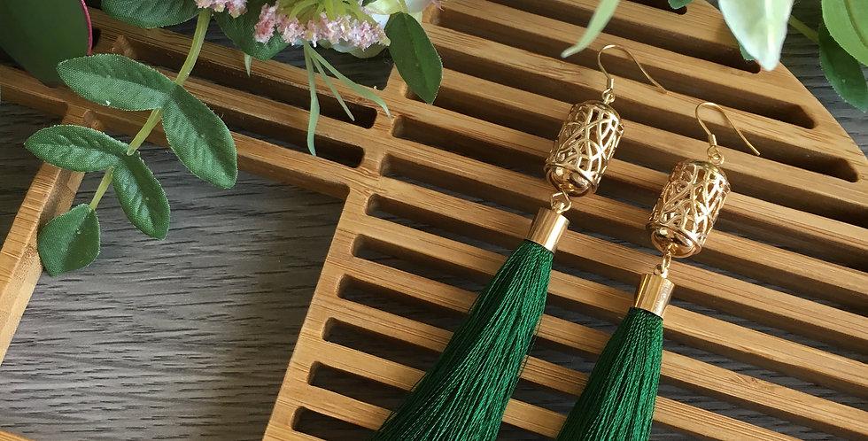 14k Gold Lattice Barrel Long Tassel Earrings
