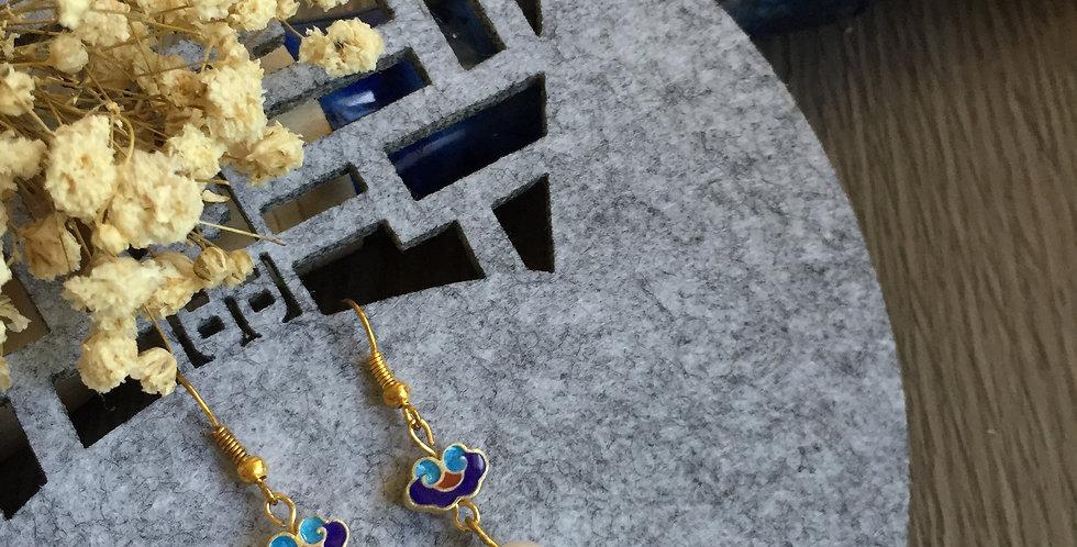 Ruyi Polychrome Enamel Freshwater Pearl Earrings