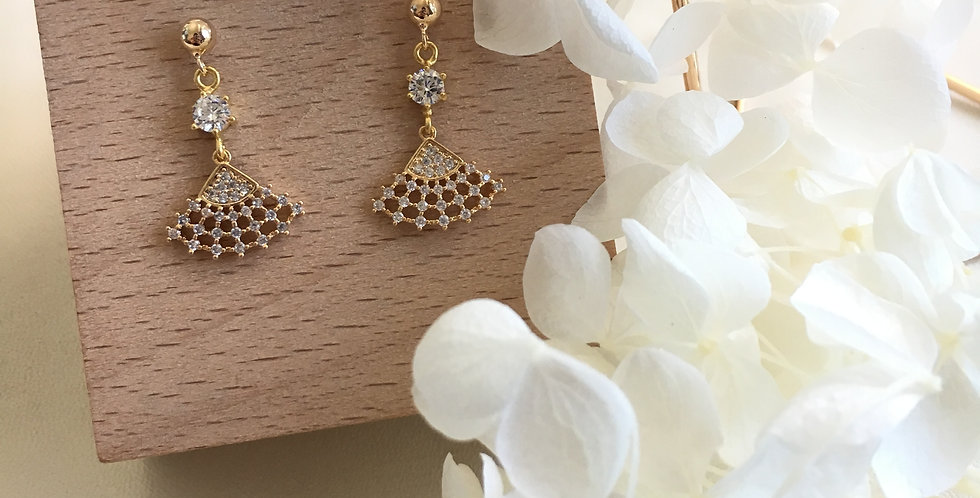 Gold-Tone Mini Fan Paste Crystal Earrings