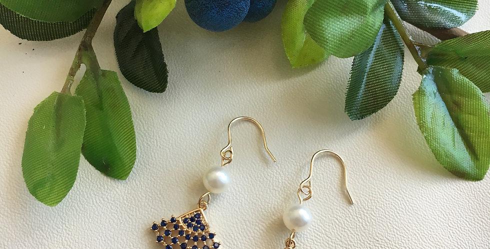 Gold-Tone Blue Mini Fan Pearl Earrings