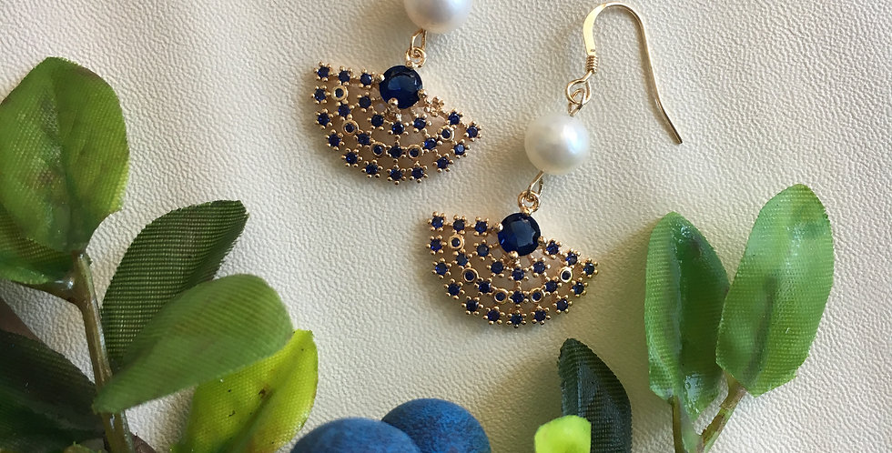 Gold-Tone Blue Fan Pearl Earrings