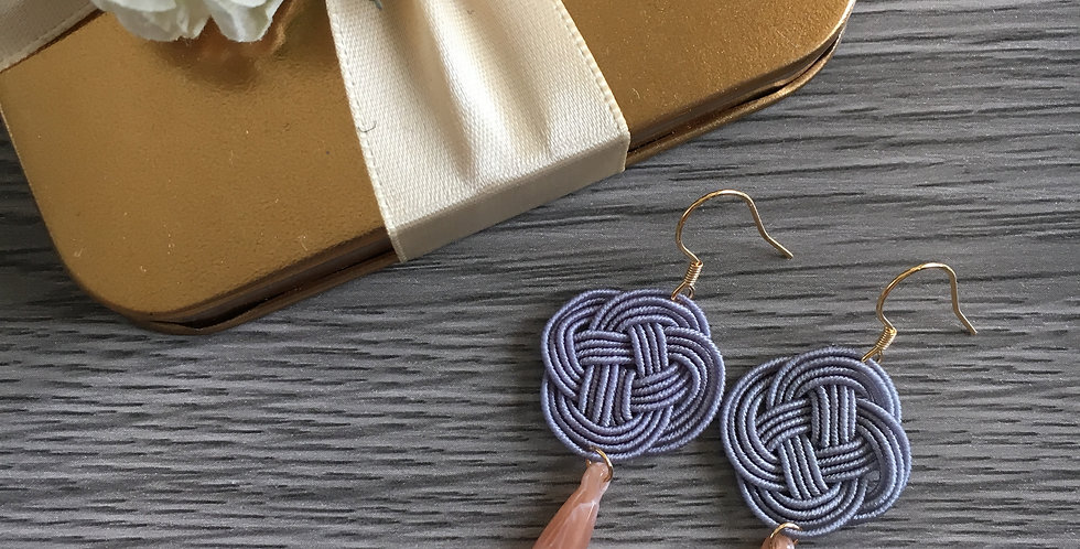 Small Woven Endless Knot Resin Drop Earring (Grey)