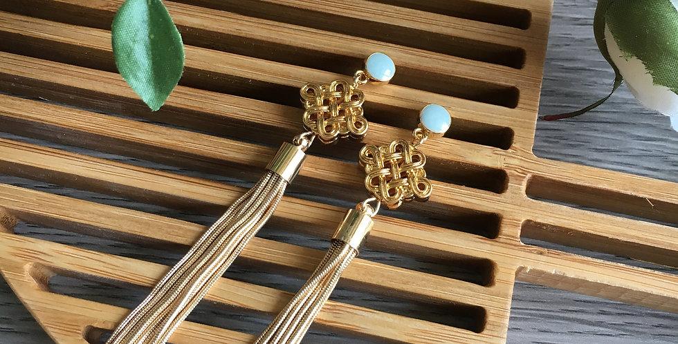 Enamel Stud Gold Ruyi Tassel Earrings