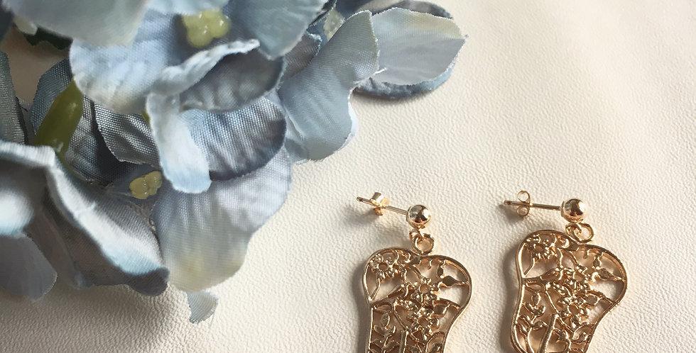 925 Silver 14k Gold-Plated Oriental Fan Earrings