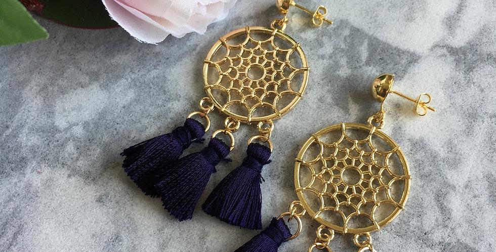 Gold-Tone Dream Catcher Tassel Earrings