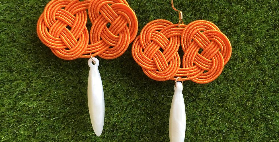 Woven Endless Knot Resin Drop Earring (Mandarin)