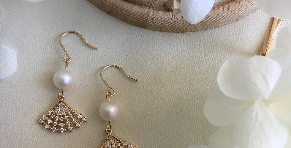 Gold-Tone Mini Fan Pearl Earrings