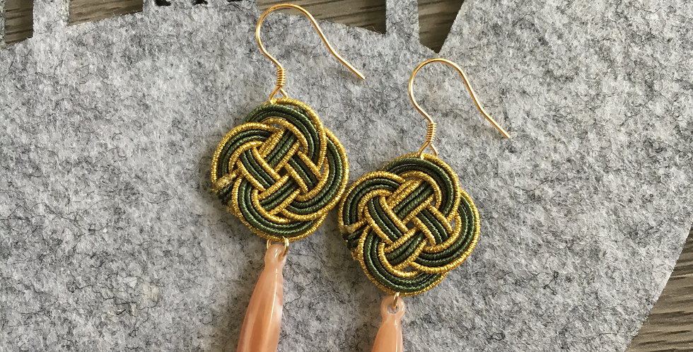 Small Woven Endless Knot Resin Drop Earring (Olive)