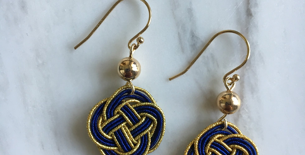 Gold Bead Woven Endless Knot Earring