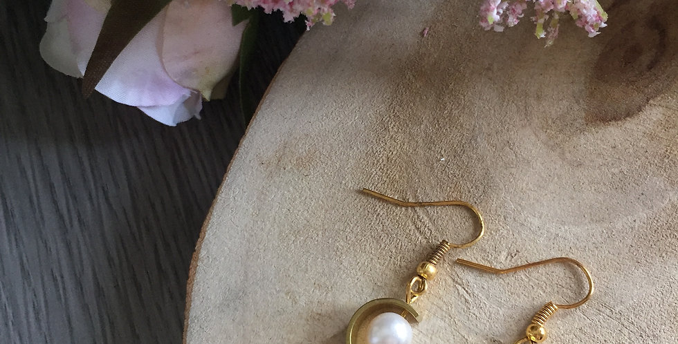 Gold-Tone Crescent Pearl Earrings