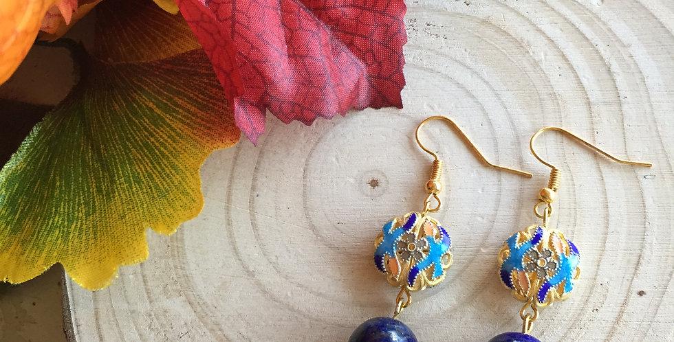 Enamel Roundel Lapis Lazuli Earrings