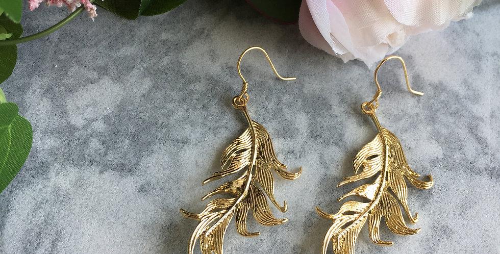 Gold-Tone Leaf Aventurine Earrings