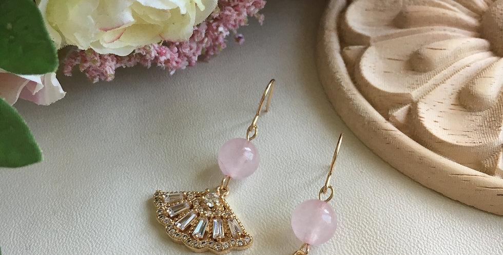 Gold-Tone Fan Rose Quartz Earrings