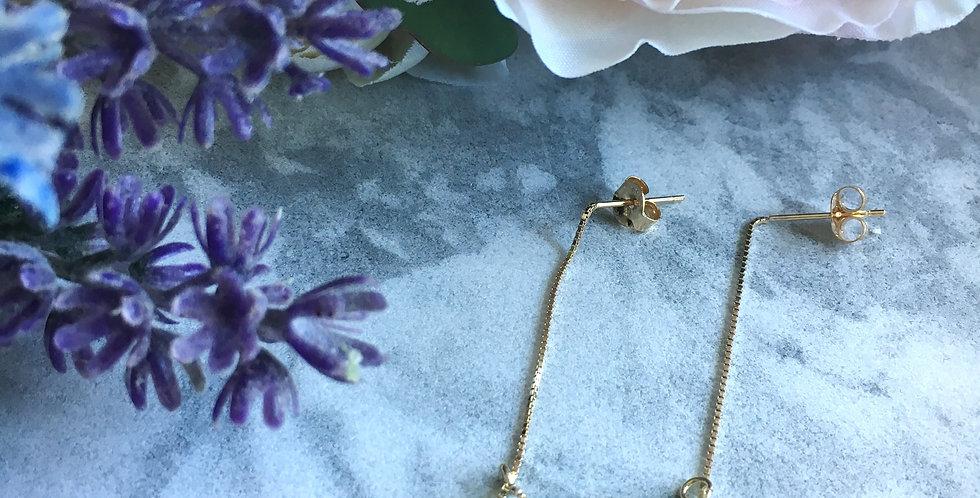14k Gold Chain Myanmar Jadeite Earrings