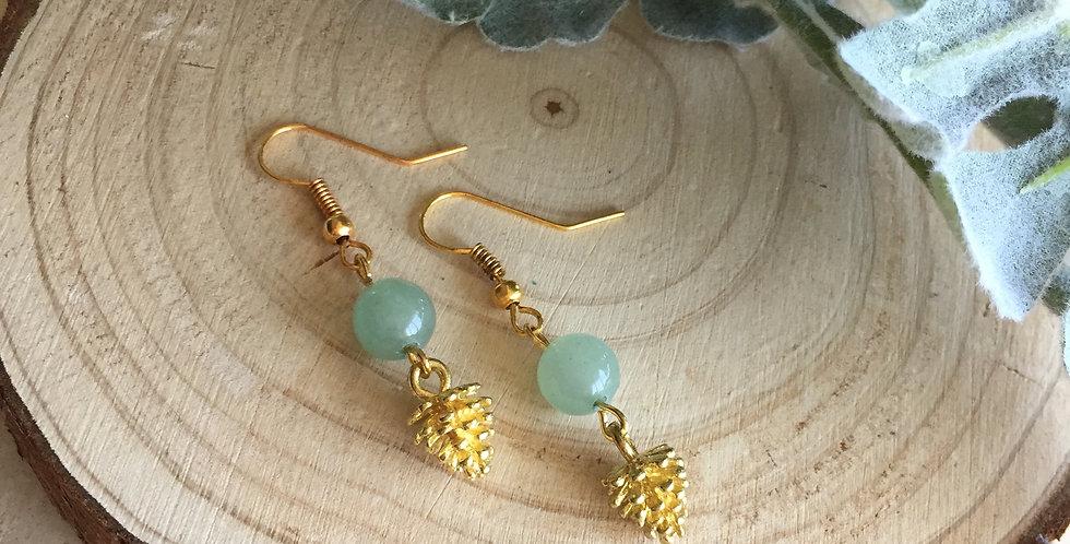Gold-tone Pine Cone Green Aventurine Earrings