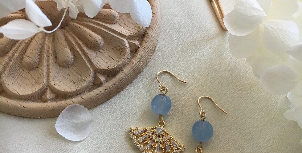 Gold-Tone Fan Blue Aventurine Earrings
