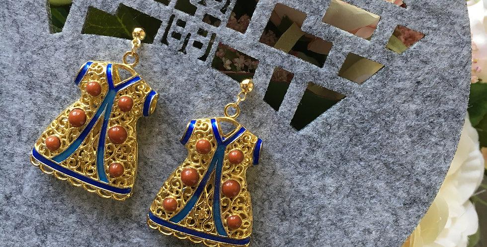 Gold-Tone Enamel Oriental Coat Earrings