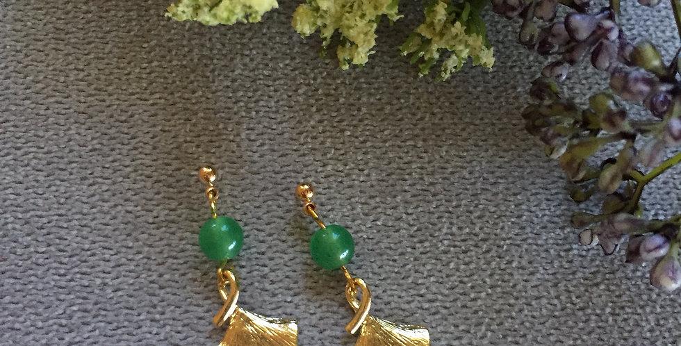 Gold-Tone Ginkgo Leaf Green Aventurine Earrings