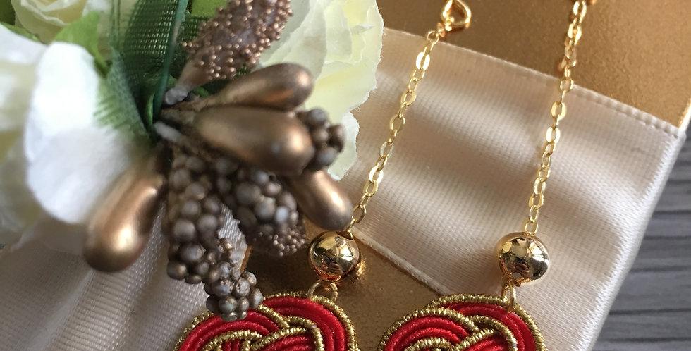 Dangle Woven Endless Knot Two-Tone Gold Earrings
