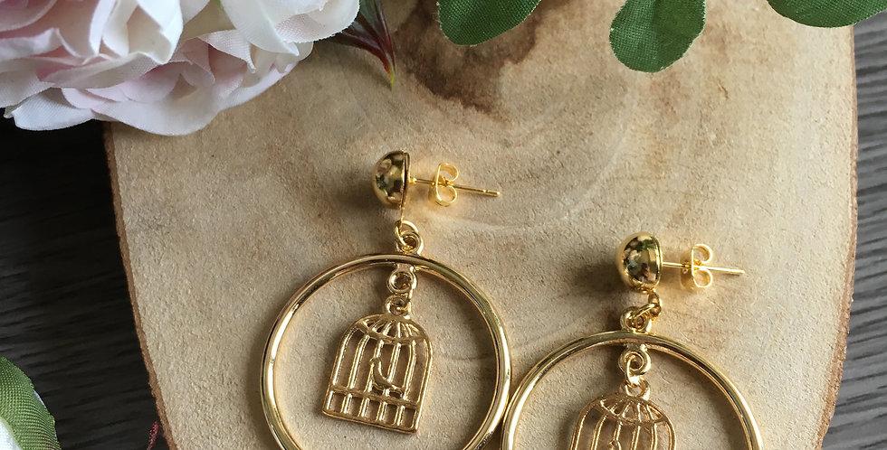 Gold-Tone Circle Bird Cage Earrings