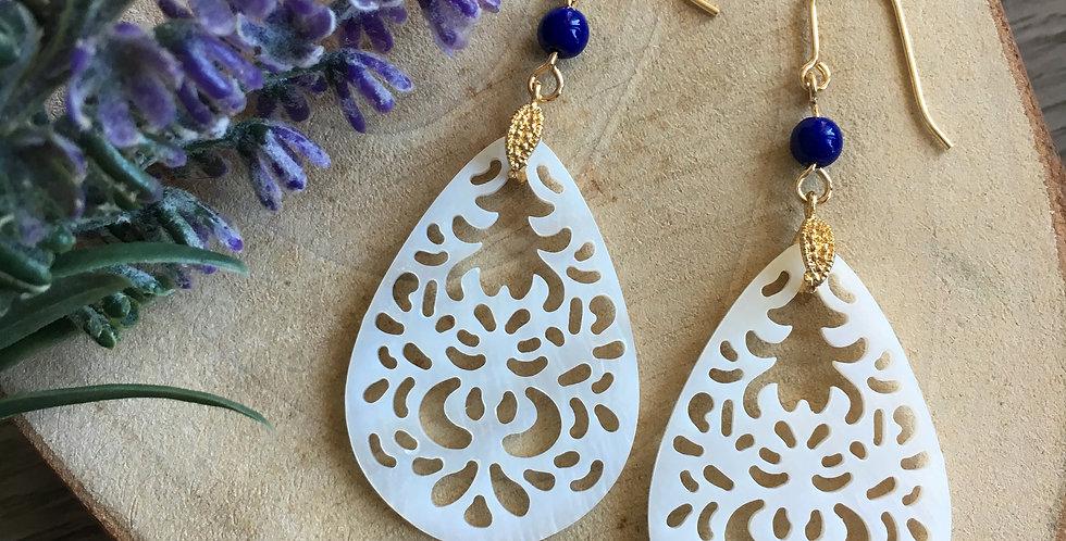 14k Gold Lapis Mother-of-Pearl Teardrop Earrings