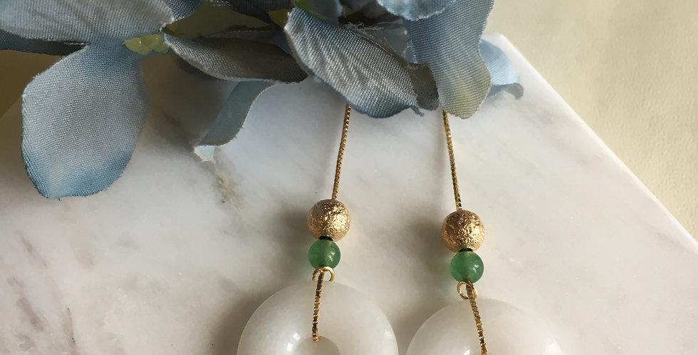 14k Gold-Plated Silver White Jade Hoop Dangle Earrings