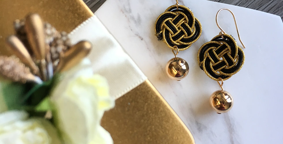 Woven Endless Knot Gold Bead Earring