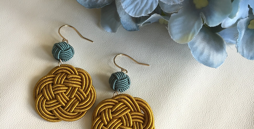Woven Endless Knot Two-Tone Button Earrings