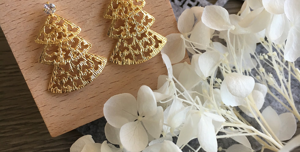 14k Gold-Tone Three-Tier Fan Earrings