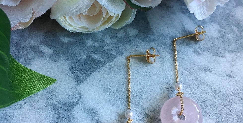 14k Gold-Plated Silver Rose Quartz Hoop Dangle Earrings