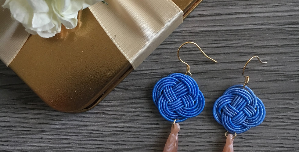 Small Woven Endless Knot Resin Drop Earring (Sky Blue)