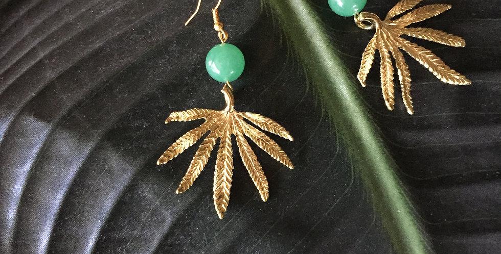 Gold-Tone Palm Leaf Green Aventurine Earrings