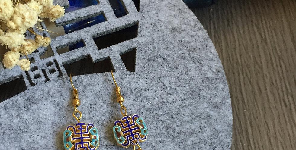 Shou Enamel Freshwater Pearl Earrings