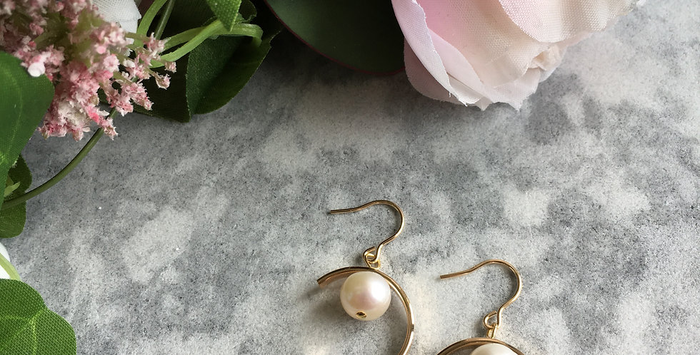 Gold-Tone Large Crescent Pearl Earrings