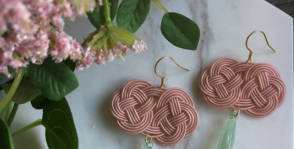 Woven Endless Knot Resin Drop Earring (Pink)