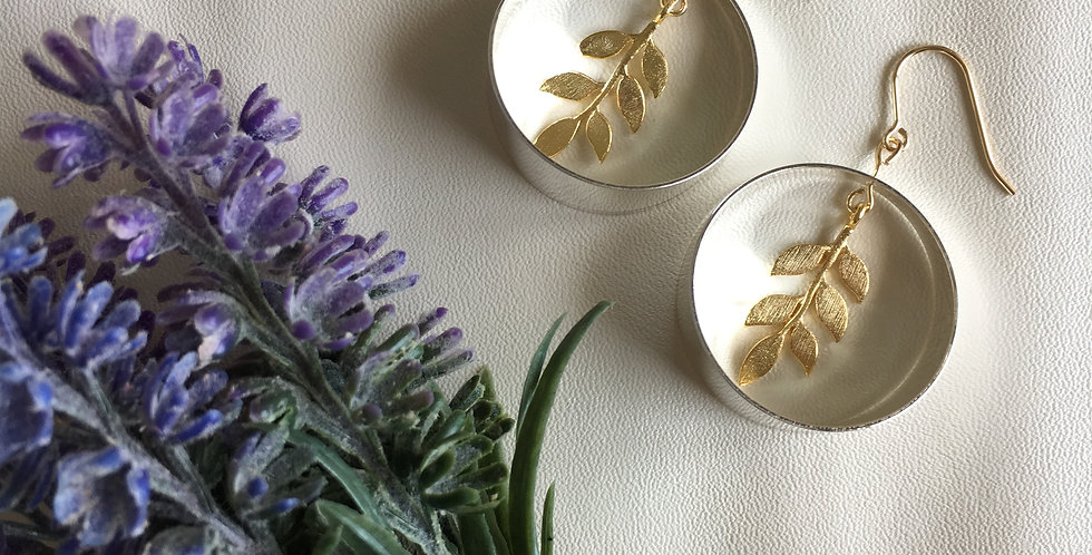 14k Gold Silver Circle Gold Leaf Earrings