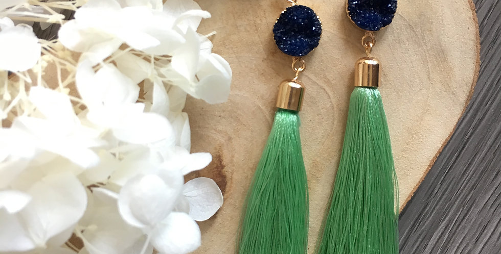 Crystallised Two-Tone Contrast Long Tassel Earrings