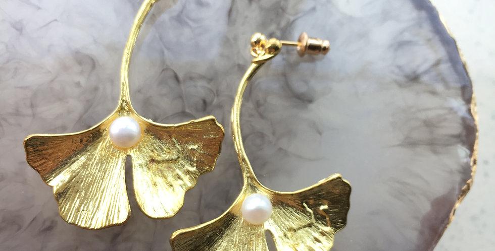 Gold-Tone Ginkgo Leaf Freshwater Pearl Earrings
