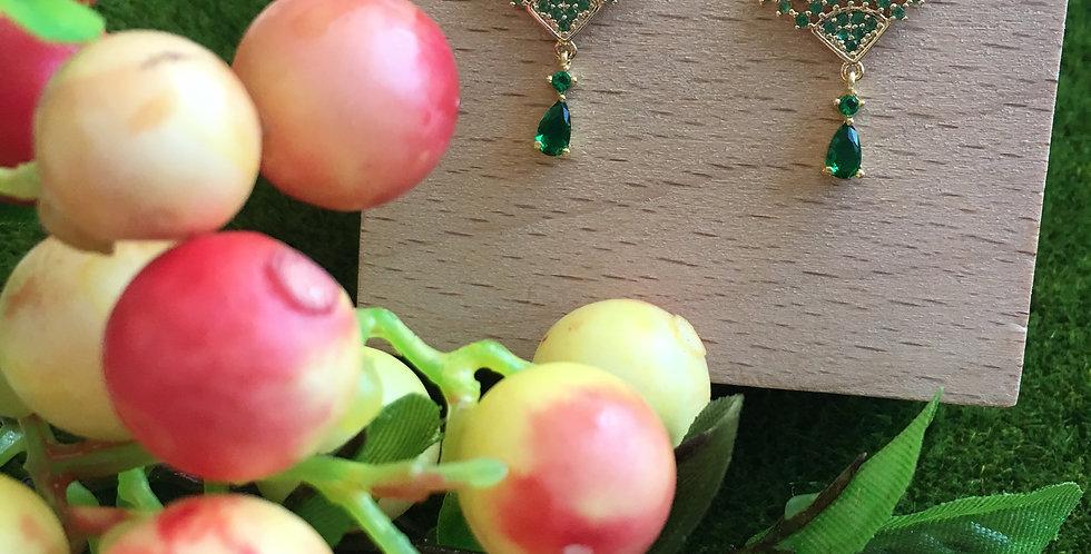 Gold-Tone Green Mini Fan Paste Drop Earrings