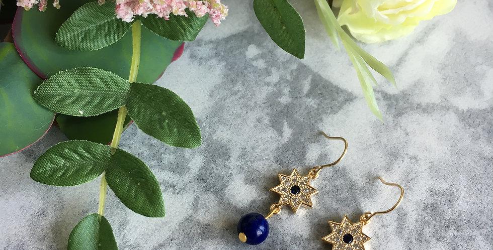 Gold-Tone Star Charm Lapis Lazuli Earrings