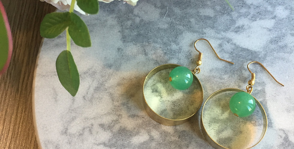 Geometric Full Circle Green Aventurine Earrings