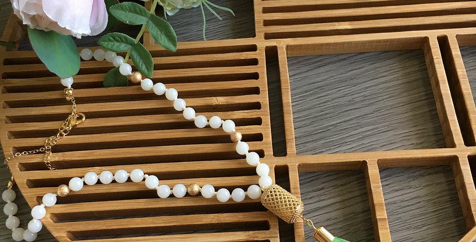 14k Gold Lattice Barrel Long Tassel Necklace