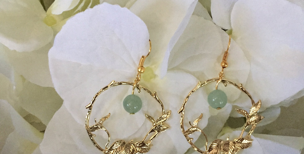 Gold-Tone Leaf Roundel Green Aventurine Earrings
